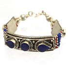 Lapis Coral Bracelet Silver Plated Gypsy Boho Tribal Ethnic Tibet India BR02F