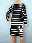 White Striped Long Sleeve Knit Cotton Shift Dress, Size Small