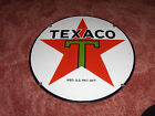 Texaco T Porcelain Red Star Gasoline Pump Advertising Sign 15