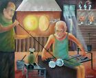 SUPERB RONALD HABER ORIGINAL Murano Glass Blowers Factory Industry PAINTING