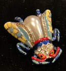 VTG Vibrant Colors Coro Pearl Belly Green Red Blue Yellow Bug Clip Pin Unsigned