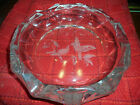 HUMMING BIRD LARGE GLASS ASHTRAY ETCHED GLASS CENTER ROUND 8 3 4 INCH H 2 INCH