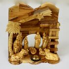 Nativity from Holy Land w Incense Wise Men Animals Mary Baby Carved Olive Wood