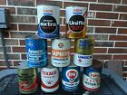 Collection of various 1 Quart Motor Oil Cans- Texaco, Gulf, Exxon, etc