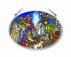 Oh Holy Night Sun Catcher AMIA Large Oval Hand Painted Glass New Nativity 9