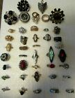 VINTAGE TO NOW ESTATE FIND LOT OF 41 COSTUME RINGS