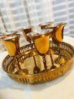 Small Wine Goblets  Tray Solid Brass Cordial Serving Set of 7 Vintage