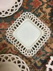 Lot 9 Assorted Vtg White Milk Glass Lattice Open Lace Edge Plates Great Display