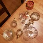 2 Teacups 2 Saucers 2 Wine Glasses 3 Small 1 Glasses Victorian Moser Bohemian