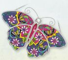 BUTTERFLY Sun Catcher AMIA Hand Painted Glass 1075 x 7 Purple Pink New