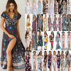 US Fashion Women Lady Chiffon Flower Floral Boho Maxi Long Holiday Dress Dresses