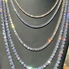 4 Prong Crystal Diamond Gold Silver 1 Row Mens Tennis Necklace Chain 9 30 USA