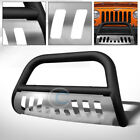 Fit 10 18 Jeep Wrangler JK Matte Blk Skid Bull Bar Brush Push Bumper Grill Guard
