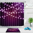 Valentine's Day Purple Color Pink Heart Lights Shower Curtain Set Bathroom Decor