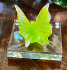 Daum France Butterfly Figurine Pate De Verre Crystal Sculpture Signed