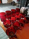 Vintage Glassware 12 LUMINARC ARCOROC RUBY RED FRANCE