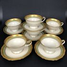 Fancy Hutschenreuther Gold Encrusted Ivory Teacup  Saucer Set of 6 Jade Green