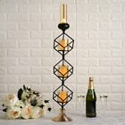 28 Inch tall Black Gold Geometric Cube Stand Votive Glass Candle Holders Sale