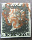 GREAT BRITAIN QVIC PENNY BLACK FINE 4 MARGINS RED MX FB LETTERING