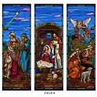 Stained Glass Christmas Polyester Nativity Banner Set 3 Foot W x 9 Foot H