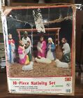 Small Empire Nativity Set Blow Mold 10 Piece Lighted Christmas Display 23 tall
