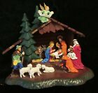 Vintage GEs GEsch Germany Plastic Christmas Nativity Light Up 3D Manger Scene