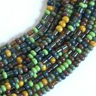 4 0 Czech Glass Beads Aged Striped Picasso Seed and Tube Bead Mix 1 20
