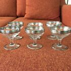 6 Vintage Sterling Silver Rimmed and Glass Footed Dessert Sherbet Pudding Cups