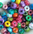 Rainbow Color Mix Crow Roller Beads Glass Pony Beads 9mm 50pc Tie Dye Picasso