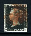 GB QV PENNY BLACK 1840 Plate 5 ML Red Maltese Cross SG 1 Specialised AS24 VFU