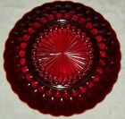 ANCHOR HOCKING BUBBLE ROYAL RUBY RED DINNER PLATES SET OF EIGHT 8 VERY NICE