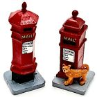 Village Figurines Lemax Christmas Victorian Mailboxes 2 Pc Set Red with Cat