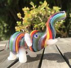 Collectible Glass Elephant Pipe With Rainbow Colors Inside Out