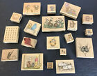 Vintage House Mouse Rubber Stamp Lot Of 19 More Wooden Stamps Stamping