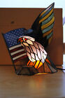 Dale Tiffany Stained Glass Bald Eagle & American Flag Spirit Accent Lamp / Light