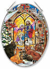 Christmas Gathering Nativity Sun Catcher AMIA Hand Painted Large Oval Animals