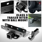 CLASS 3 MATTE BLK TRAILER HITCH+2 LOADED BALL BUMPER TOW 07 18 JEEP WRANGLER JK