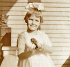 Little Girl on Porch with Bracelet  Cat Vintage 1920s Snapshot Photo