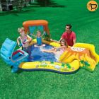 Kids Inflatable Backyard Dino Island Water Slide Play Park Swimming Pool Center