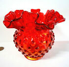 Vtg FENTON GLASS Double Ruffled Colonial Orange HOBNAIL VASE Red Candle Holder