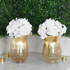 8 inches Gold Crackle Glass Candle Holders Vases Party Wedding Home Centerpieces