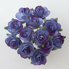 Small Mini Mulberry Paper Rose Flowers 15mm Hyacinth Blue With Wire Bendy Stem