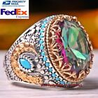 Turkish Handmade 925 Sterling Silver Tourmaline and Turquoise Heavy Mens Ring