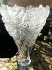 Bohemian Czech Shannon Heavy Frosted Vase 14 24 Lead Crystal Roses Bouquet