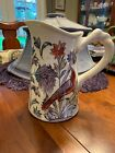 Pottery Barn Pitcher Large Beautiful Features Birds And Flowers