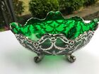 Art Nouveau Emerald Green Glass Silver Overlay Footed Bowl 11 x 75 x 5