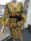 African Clothing Ankara Kente Women 2 Set Of Peplum Top And Pencil Skirt