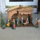 Vintage Wooden Stable Manger Nativity Scene Figures Shown  Trees 11 1 2H Italy