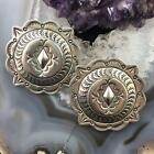 Native American Silver Stamped Concho Stud Earrings For Women