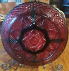 Vtg Arcoroc Luminarc DArques Ruby Red 5 Section Serving Platter Divided France